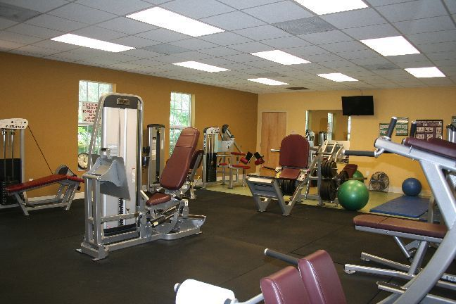 interior of fitness center with equipment